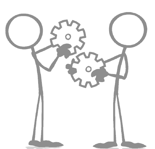 stick figures holding cogs
