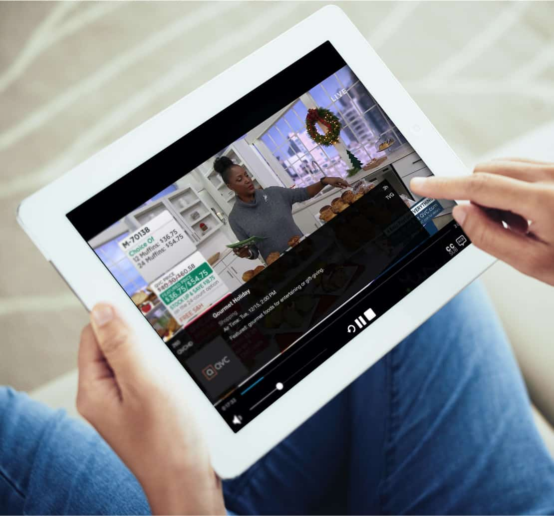 ipad with streaming TV show